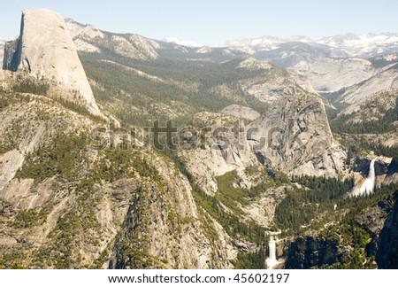 Half Dome, Little Yosemite Valley, Liberty Cap, Nevada Falls and Vernal Falls - stock photo