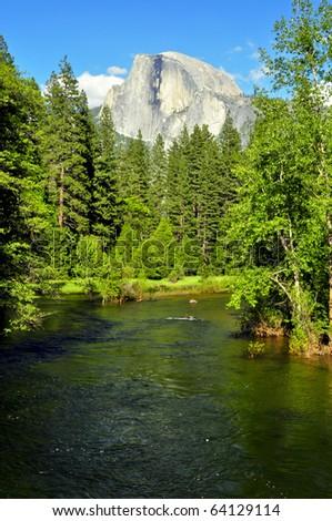 Half Dome on a beautiful day. Yosemite National Park, California - stock photo