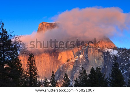 Half Dome peak at sunset in Yosemite National Park, California. - stock photo