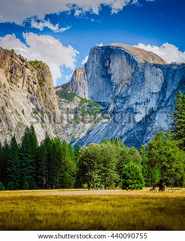 Half Dome Peak Yosemite National Park,  California USA.   - stock photo