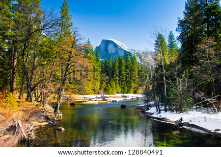 Half Dome Rock , the Landmark of Yosemite National Park,California - stock photo