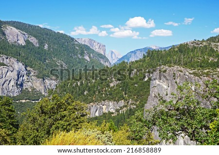 Half Dome seen from Yosemite entrance, Yosemite national park, California, USA - stock photo