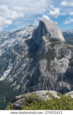 Half-Dome view from Glacier Point, above Yosemite Valley, in California, USA - stock photo