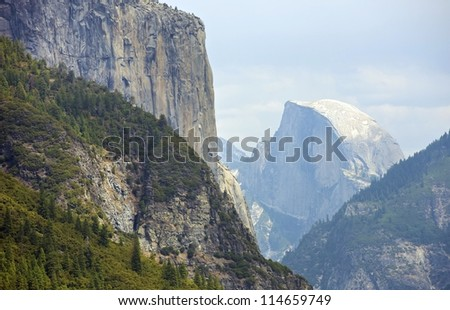 Half Dome Yosemite Valley, California, USA. Yosemite National Park Landscape. Sierra Nevada Mountains. - stock photo