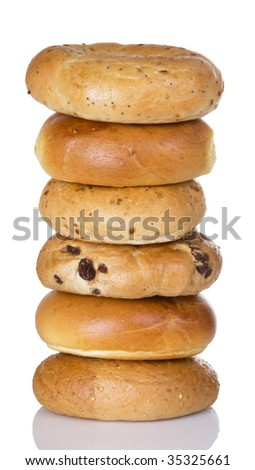 Half dozen freshly baked bagels stacked on top of each other - stock photo