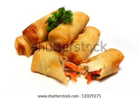 Half dozen of spring rolls isolated on white background. - stock photo