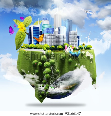 half earth covers with city and grass and different elements on its surface as green business concept - stock photo