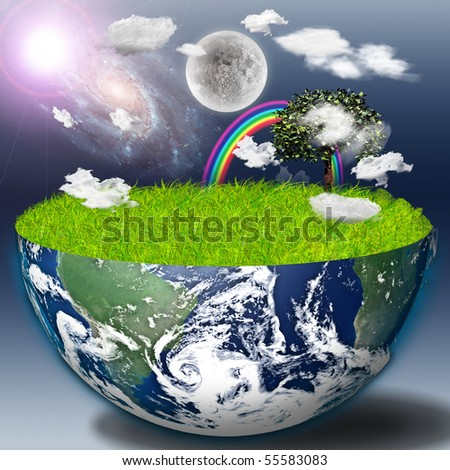Half earth with green grass and landscape - stock photo