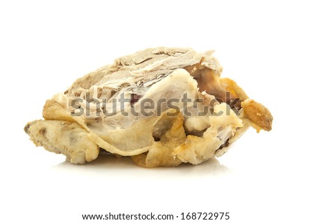 Half Eaten Roast Chicken on white background