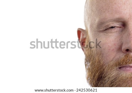 half face, bald man with beard