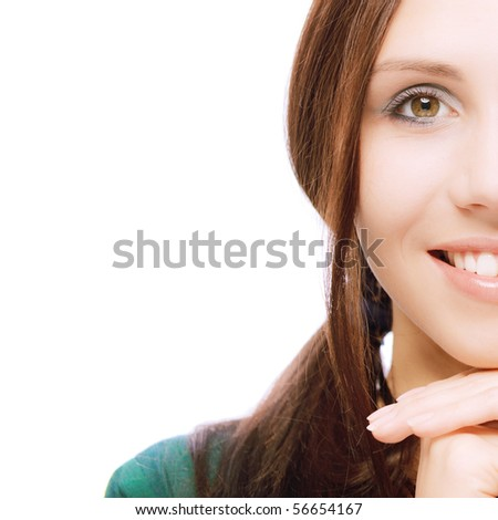 Half face beautiful young woman in green dress, on white background. - stock photo