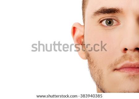 Half face close up portrait - stock photo