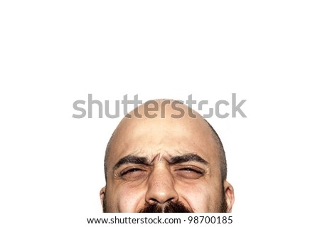 half face expression looking on white background