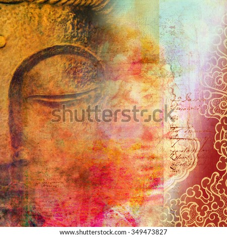 Half Face Of Buddha With Closed Eyes Merged Beautiful Scripted Red Background