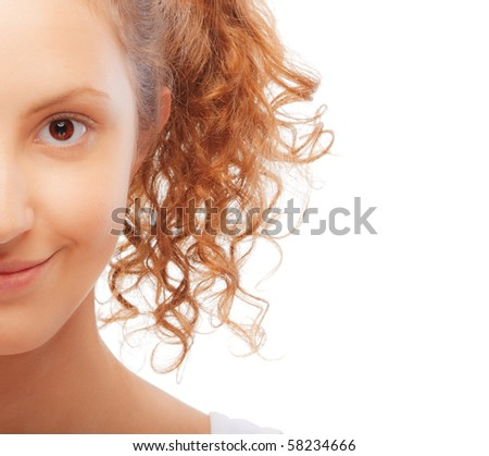 Half face of girl with ponytails, on white background. - stock photo
