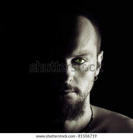 Half Face Of Mystery Man - stock photo