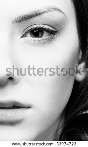 half-face portrait of pale  girl - stock photo