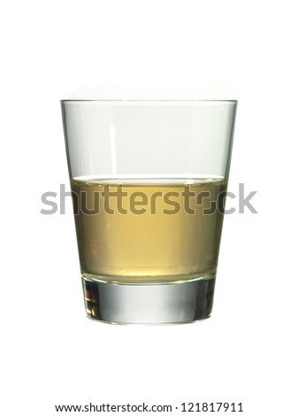 Half filled glass of whiskey