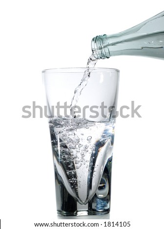 Half full glass being filled with water isolated on white - stock photo