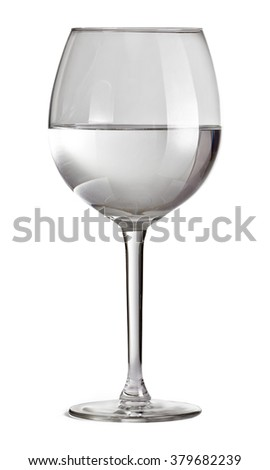 Half full glass for wine isolated on white background with clipping path. Glass with water. - stock photo