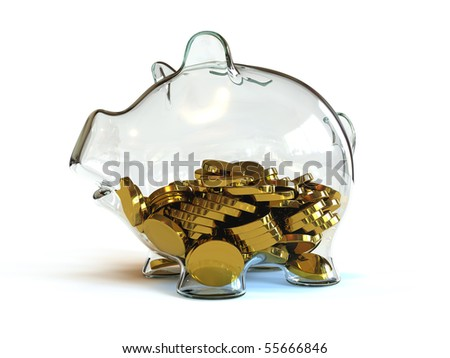 Half full glass piggy bank - stock photo