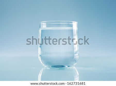 half full half empty. Glass of water - stock photo