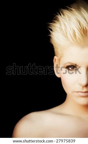 Half full woman portrait - stock photo