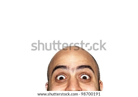 half funny face expression looking on white background - stock photo