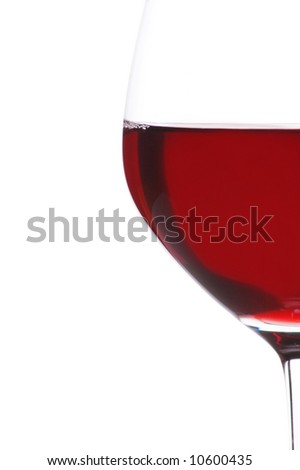 Half Glass of Red Wine isolated over white