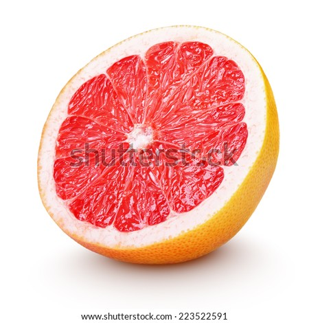 Half grapefruit citrus fruit isolated on white with clipping path - stock photo