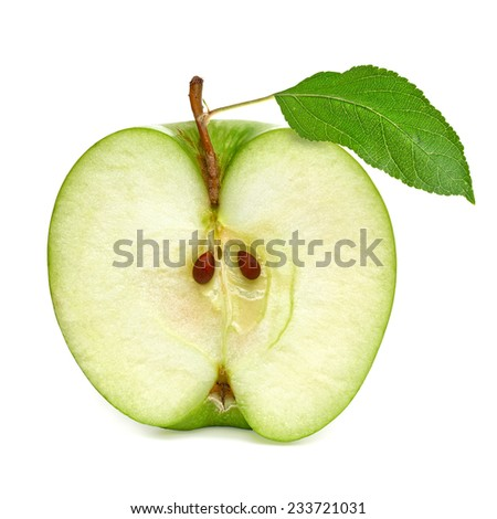 Half green apple with leaf on white background including clipping path - stock photo