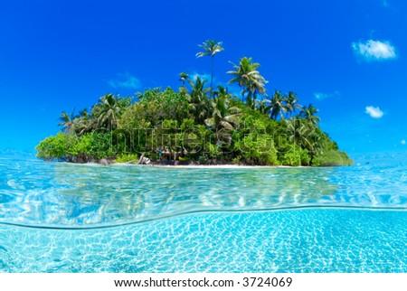 half half shot of tropical island - stock photo
