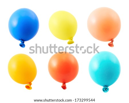 Half-inflated air balloon isolated over white background, set of six different colors