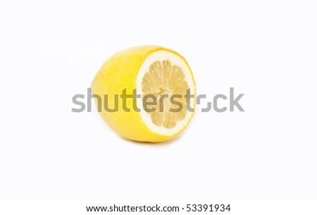 Half lemon isolated in white - stock photo