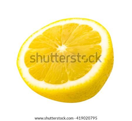 Half lemon isolated on white background - stock photo
