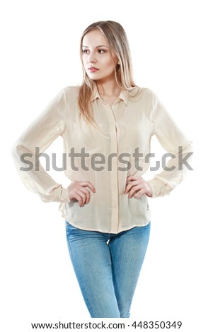 half lenght portrait of  young pretty woman standing and looking sideway isolated on white background in photostudio - stock photo