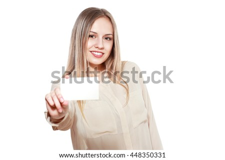 half lenght portrait of  young  woman showing blank card isolated on white background in photostudio - stock photo