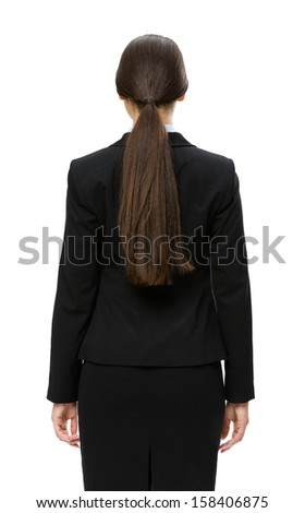 Half-length backiew of businesswoman, isolated on white. Concept of leadership and success
