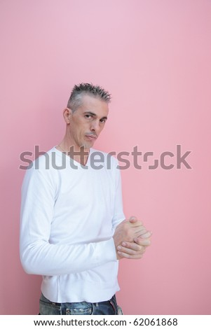 half-length of a man with white shirt - stock photo