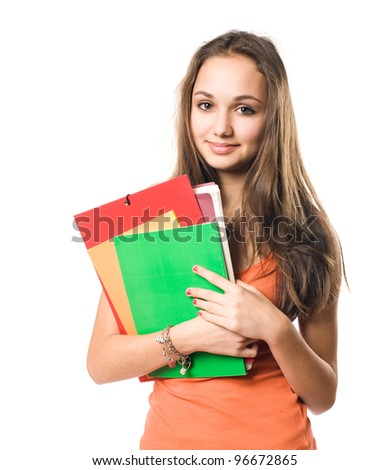 Half length portrait of a beautiful relaxed young student girl. - stock photo