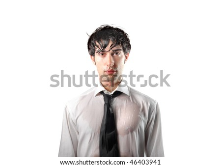 Half-length portrait of a businessman completely wet