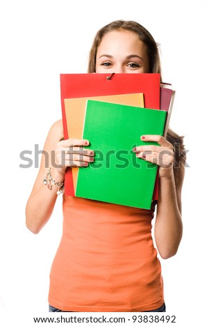 Half length portrait of a cute shy young student girl. - stock photo
