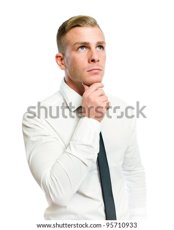 Half length portrait of a thoughtful young businessman on white. - stock photo