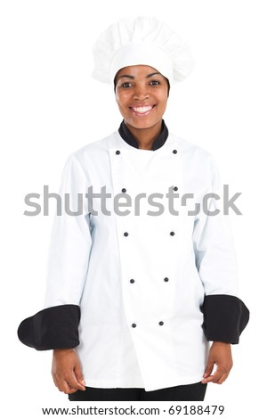 half length portrait of african american female chef over white - stock photo