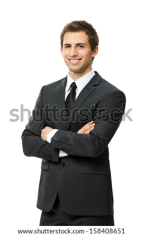 Half-length portrait of business man with crossed hands, isolated. Concept of leadership and success - stock photo