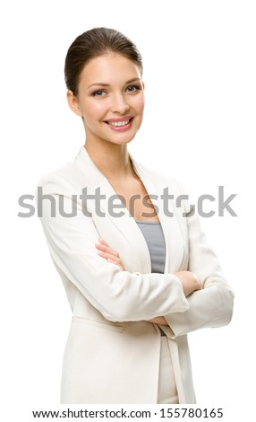 Half-length portrait of business woman with hands crossed, isolated on a white background. Concept of leadership and success