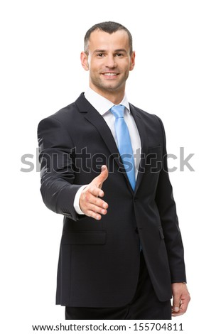 Half-length portrait of businessman hand shake gesturing, isolated on white - stock photo