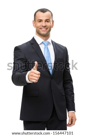 Half-length portrait of businessman thumbing up, isolated on white. Concept of leadership and success - stock photo