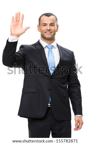 Half-length portrait of businessman waving hand, isolated on white. Concept of leadership and success - stock photo