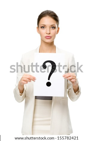 Half-length portrait of businesswoman handing question mark, isolated. Concept of problem and solution - stock photo